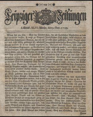 Leipziger Zeitungen vom 09.11.1739