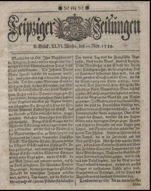 Leipziger Zeitungen vom 10.11.1739