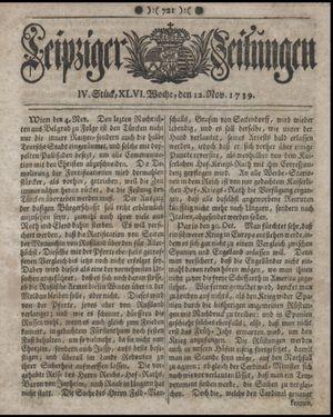 Leipziger Zeitungen vom 12.11.1739