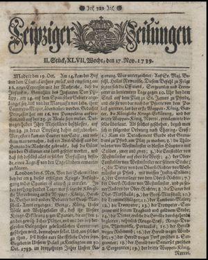 Leipziger Zeitungen vom 17.11.1739