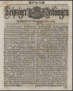 Leipziger Zeitungen vom 18.11.1739