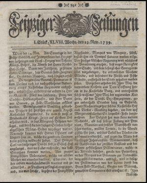 Leipziger Zeitungen vom 23.11.1739
