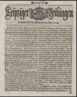 Leipziger Zeitungen vom 24.11.1739