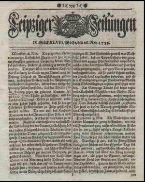 Leipziger Zeitungen vom 26.11.1739