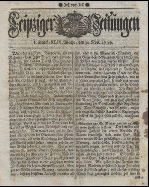 Leipziger Zeitungen on Nov 30, 1739