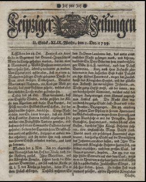Leipziger Zeitungen vom 01.12.1739