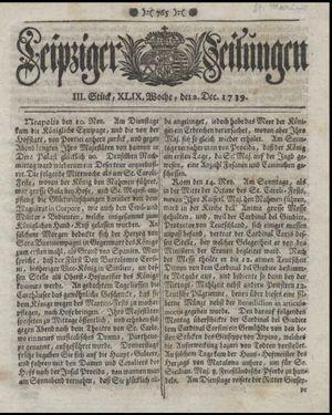 Leipziger Zeitungen vom 02.12.1739