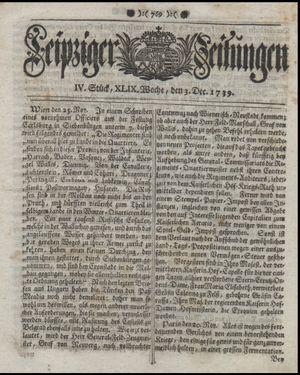 Leipziger Zeitungen vom 03.12.1739