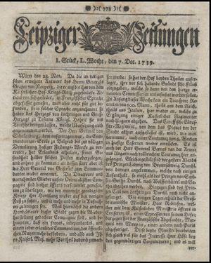 Leipziger Zeitungen vom 07.12.1739