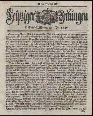 Leipziger Zeitungen vom 08.12.1739