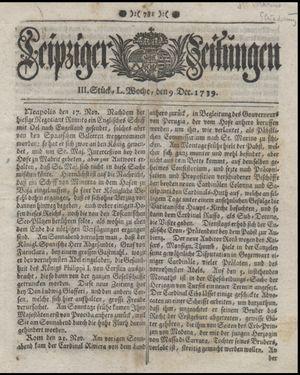Leipziger Zeitungen vom 09.12.1739