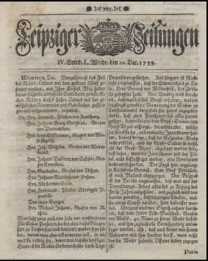 Leipziger Zeitungen on Dec 10, 1739