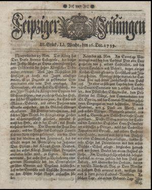 Leipziger Zeitungen vom 16.12.1739