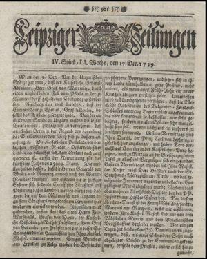 Leipziger Zeitungen vom 17.12.1739
