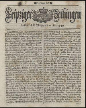 Leipziger Zeitungen vom 21.12.1739