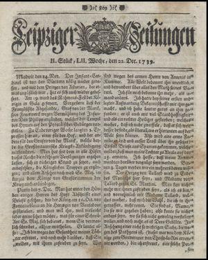 Leipziger Zeitungen vom 22.12.1739