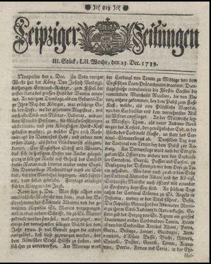Leipziger Zeitungen vom 23.12.1739