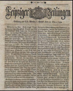 Leipziger Zeitungen vom 28.12.1739