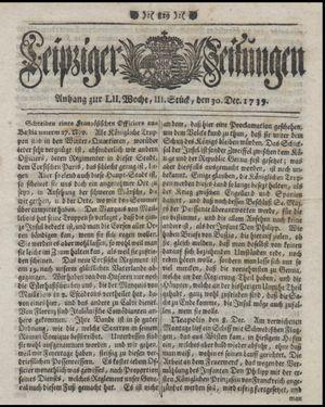 Leipziger Zeitungen vom 30.12.1739