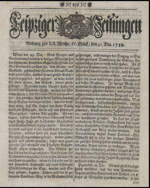 Leipziger Zeitungen vom 31.12.1739