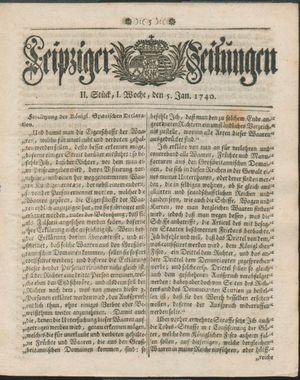 Leipziger Zeitungen vom 05.01.1740
