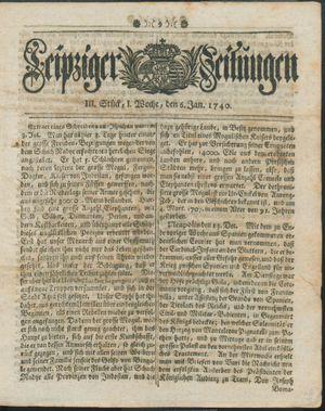 Leipziger Zeitungen vom 06.01.1740
