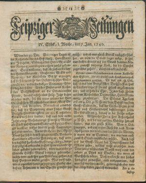 Leipziger Zeitungen vom 07.01.1740