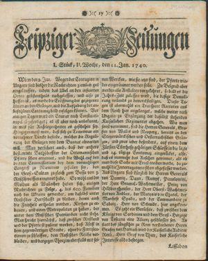 Leipziger Zeitungen vom 11.01.1740