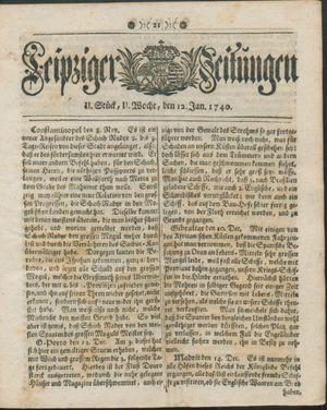 Leipziger Zeitungen vom 12.01.1740