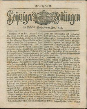 Leipziger Zeitungen vom 13.01.1740