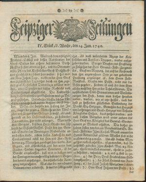 Leipziger Zeitungen vom 14.01.1740