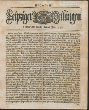 Leipziger Zeitungen vom 18.01.1740