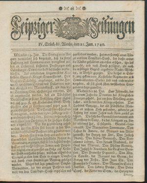 Leipziger Zeitungen vom 21.01.1740