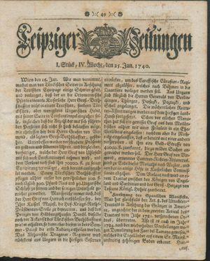 Leipziger Zeitungen vom 25.01.1740