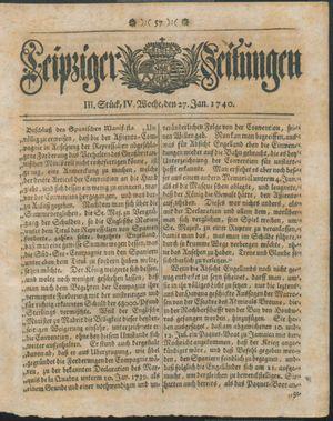 Leipziger Zeitungen vom 27.01.1740