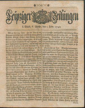 Leipziger Zeitungen vom 01.02.1740