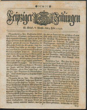 Leipziger Zeitungen vom 03.02.1740