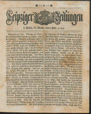 Leipziger Zeitungen vom 08.02.1740