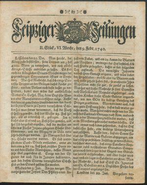 Leipziger Zeitungen vom 09.02.1740