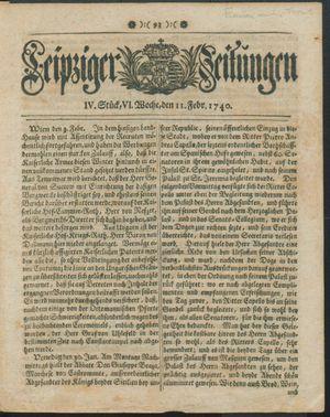 Leipziger Zeitungen vom 11.02.1740