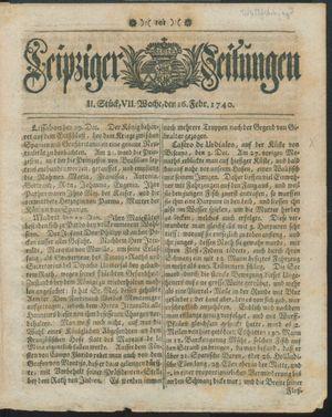 Leipziger Zeitungen vom 16.02.1740