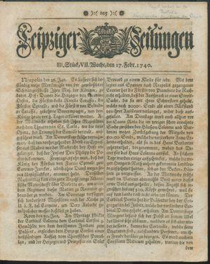 Leipziger Zeitungen vom 17.02.1740