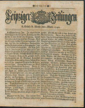 Leipziger Zeitungen vom 01.03.1740
