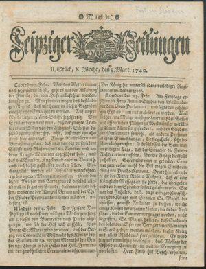 Leipziger Zeitungen vom 08.03.1740