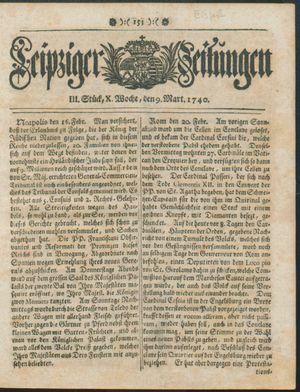 Leipziger Zeitungen vom 09.03.1740