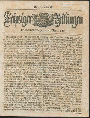 Leipziger Zeitungen vom 10.03.1740