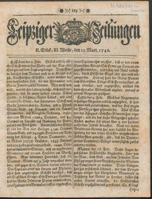 Leipziger Zeitungen vom 15.03.1740