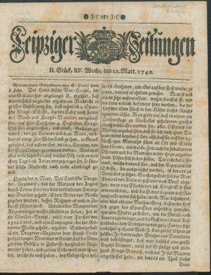 Leipziger Zeitungen vom 22.03.1740