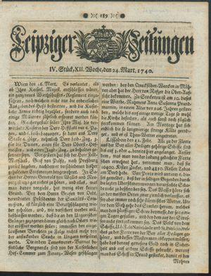Leipziger Zeitungen vom 24.03.1740