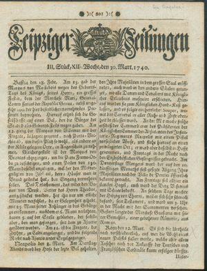Leipziger Zeitungen vom 30.03.1740